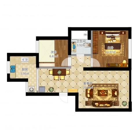 江航路60弄瑞和新苑15号302室(麻先生)2室2厅1卫1厨67.00㎡户型图