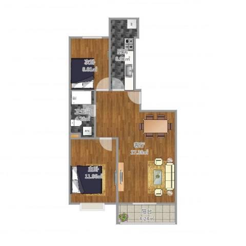 马南里小区二号楼2室1厅1卫1厨79.00㎡户型图