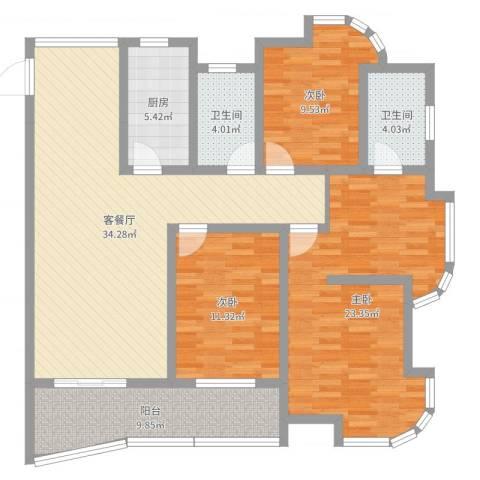 富都豪园3室2厅2卫1厨127.00㎡户型图