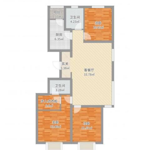 天津富力尚悦居3室2厅2卫1厨111.00㎡户型图