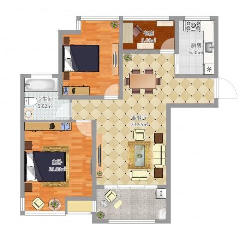 创元金域华府B户型2室2厅1卫1厨114.00㎡户型图