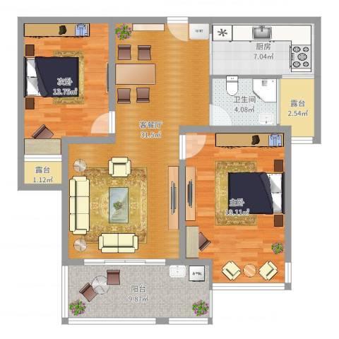 创元金域华府D户型2室2厅1卫1厨111.00㎡户型图