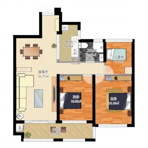 御景天成3室2厅2卫1厨98.00㎡户型图