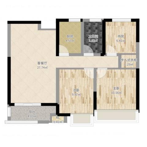 建屋海德公园3室2厅1卫1厨86.00㎡户型图