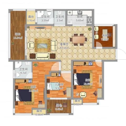 创元金域华府E户型4室2厅3卫1厨173.00㎡户型图