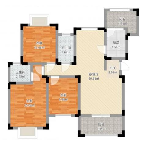 龙腾盛世3室2厅2卫1厨108.00㎡户型图