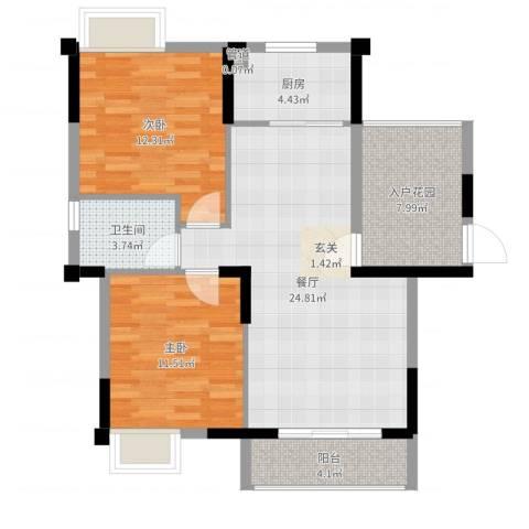 春华星运城2室1厅1卫1厨86.00㎡户型图