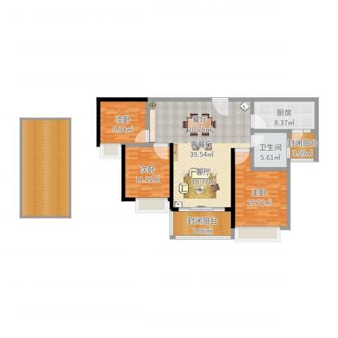 恒大名都3室2厅1卫1厨153.00㎡户型图