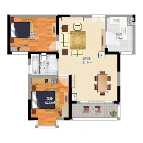 四季花都2室2厅2卫1厨90.00㎡户型图