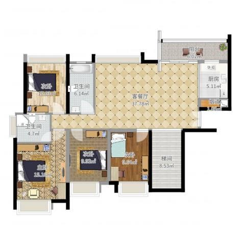 中信左岸4室2厅4卫1厨143.00㎡户型图