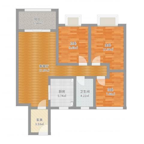 博威黄金海岸3室2厅1卫1厨94.00㎡户型图