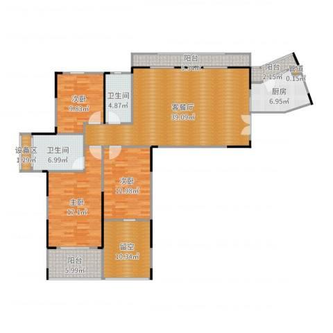 塞纳河畔3室2厅2卫1厨154.00㎡户型图