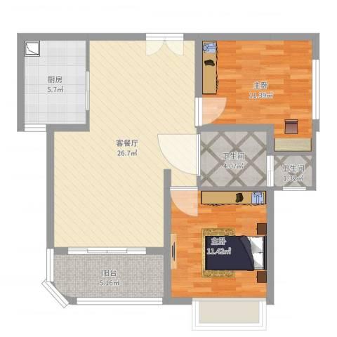 幸福天地2室2厅2卫1厨82.00㎡户型图