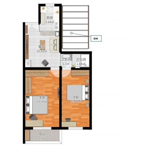 东南小区2室1厅2卫1厨60.00㎡户型图