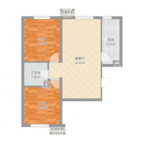 明天第一城8号院2室2厅1卫1厨72.00㎡户型图