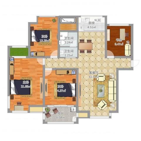 创元金域华府H户型4室2厅2卫1厨154.00㎡户型图