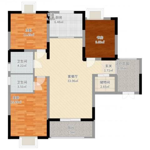 隆昊昊天园3室2厅2卫1厨142.00㎡户型图
