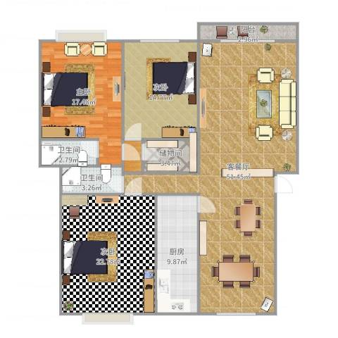 南国奥园洛杉矶区3室2厅2卫1厨162.00㎡户型图