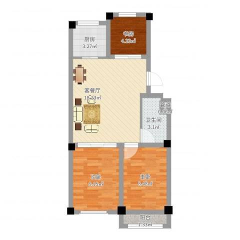 西涝台御鑫园3室2厅1卫1厨60.00㎡户型图