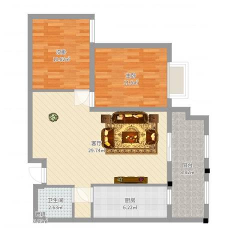 水运雅居2室1厅1卫1厨87.00㎡户型图