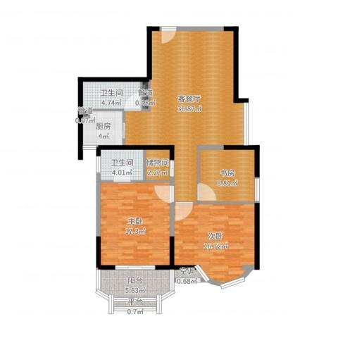 雯锦雅苑3室2厅6卫1厨128.00㎡户型图