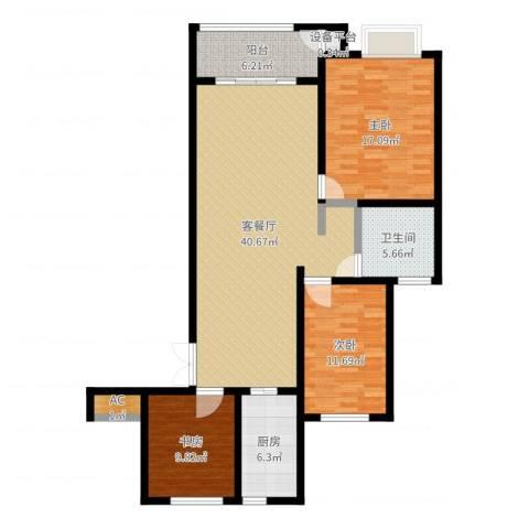 建滔裕景园3室2厅2卫2厨123.00㎡户型图