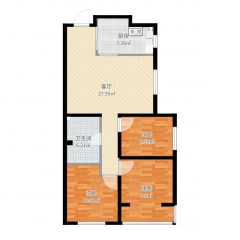 近阳光小区3室1厅1卫1厨92.00㎡户型图