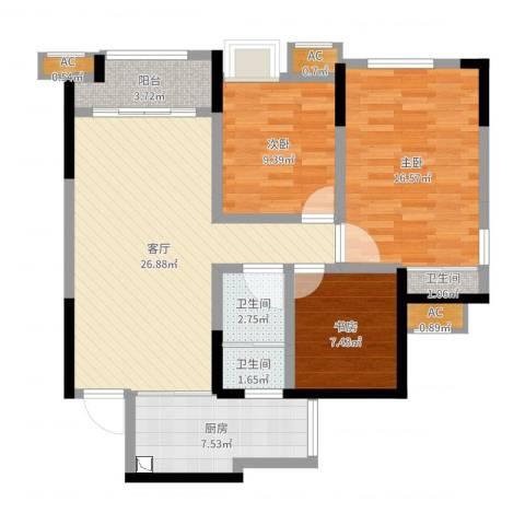 融创凡尔赛领馆3室1厅3卫1厨99.00㎡户型图