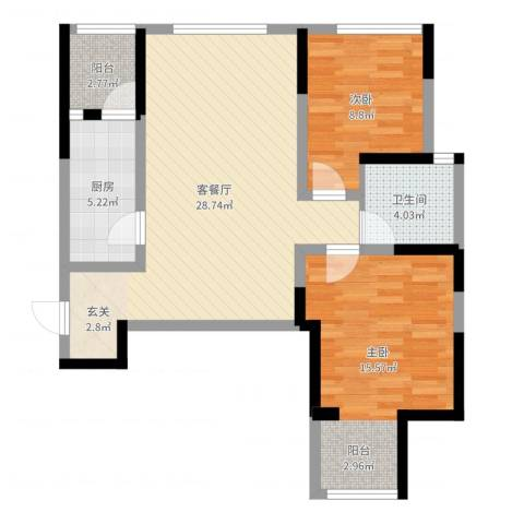 榕园嘉苑2室2厅1卫1厨81.00㎡户型图