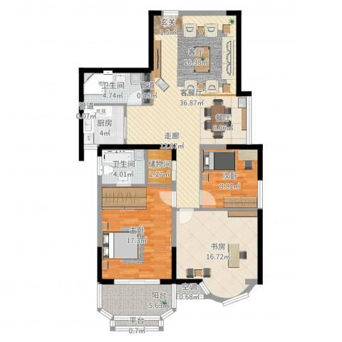 雯锦雅苑3室2厅2卫1厨128.00㎡户型图