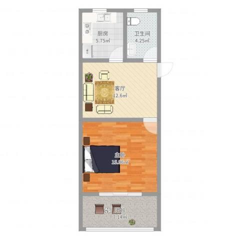 古美西路420弄小区1室1厅1卫1厨57.00㎡户型图