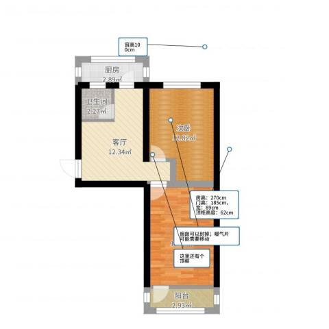 模式口西里2室1厅1卫1厨60.00㎡户型图