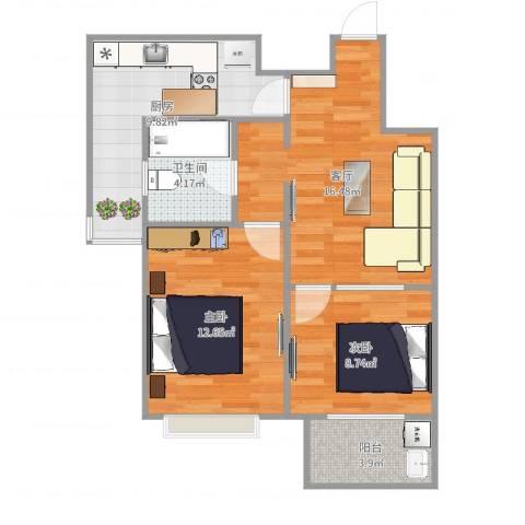 拉德芳斯2室1厅1卫1厨75.00㎡户型图