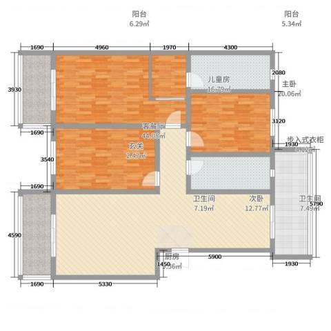 百万庄园西区人行宿舍3室2厅2卫1厨162.00㎡户型图