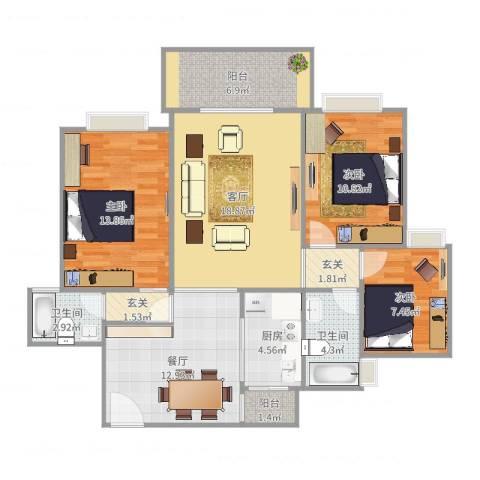 凤凰苑3室2厅2卫1厨109.00㎡户型图