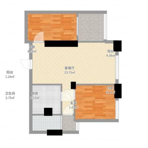 大东门华庭15032室2厅1卫1厨68.00㎡户型图