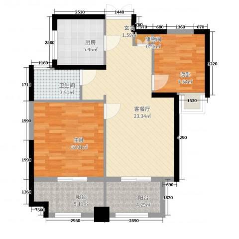 绿地苏河源2室2厅1卫1厨81.00㎡户型图
