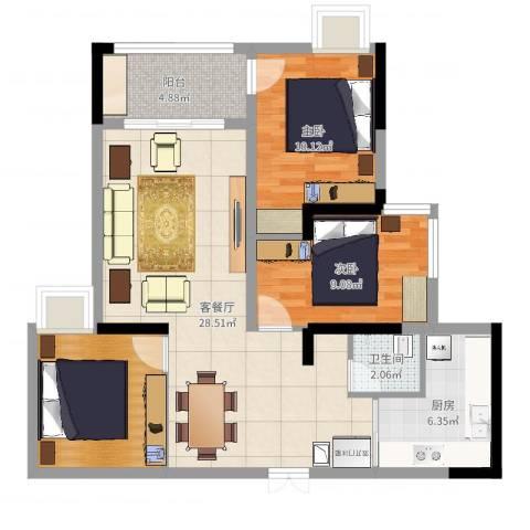 万科悦峰2室2厅1卫1厨87.00㎡户型图