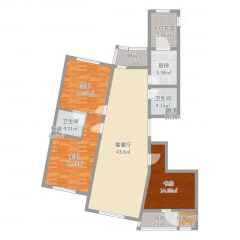 滨河湾城市花园3室3厅4卫2厨149.00㎡户型图