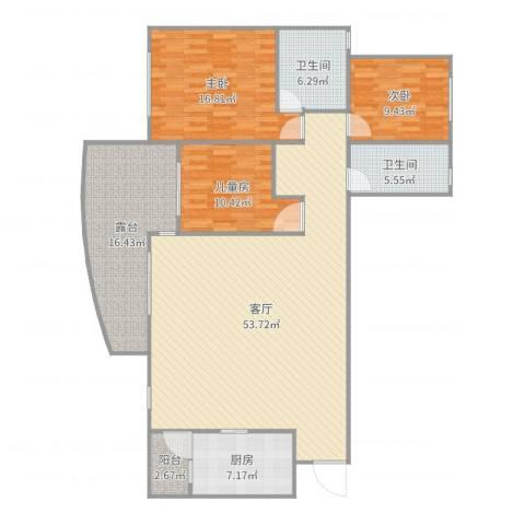 中海名城3室1厅2卫1厨128.49㎡户型图