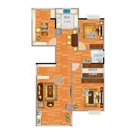 联泰棕榈庄园3室2厅1卫1厨117.00㎡户型图