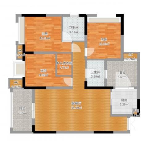 艾佳沁园3室2厅6卫1厨124.00㎡户型图