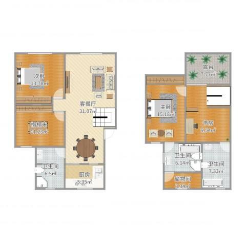 瑞景新村2室2厅3卫1厨153.00㎡户型图