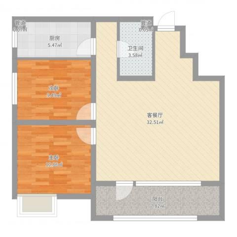 保利香槟国际2室2厅1卫1厨87.00㎡户型图