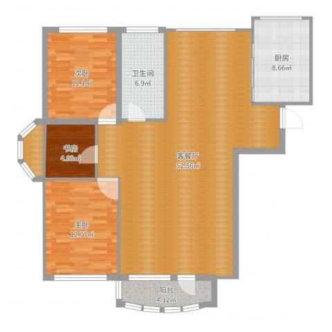 昌宇星河湾3室2厅1卫1厨128.00㎡户型图