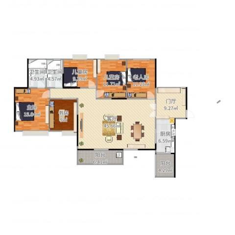 康联汇展中央5室1厅2卫1厨173.00㎡户型图