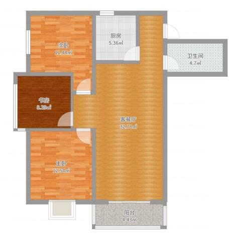 旭景崇盛园3室2厅1卫1厨99.00㎡户型图