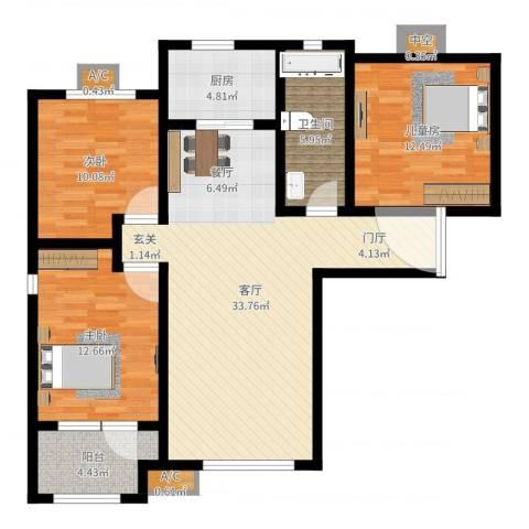 潮白河孔雀城・温莎郡3室1厅1卫1厨107.00㎡户型图