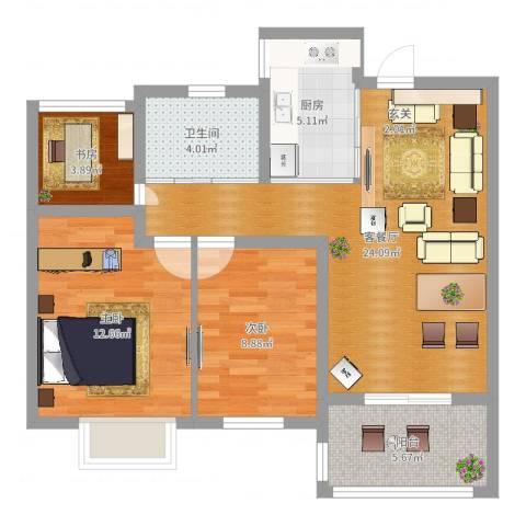 莱蒙水榭阳光3室2厅1卫1厨80.00㎡户型图