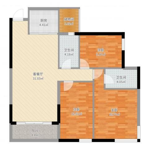 民田立沙新区3室2厅2卫1厨111.00㎡户型图